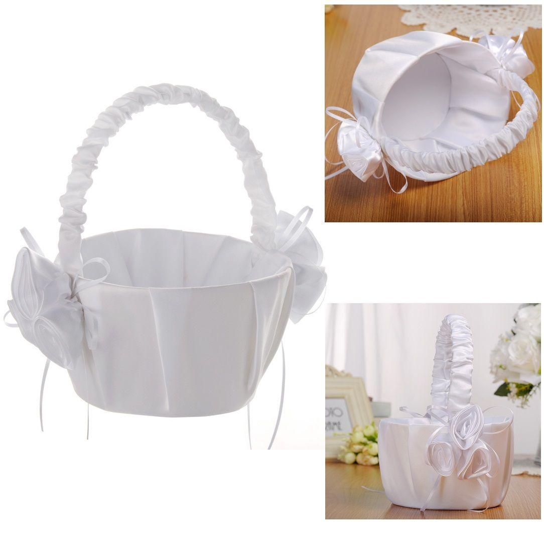 White Flower Girl Baskets for Wedding Favors Basket Bridesmaid Petal Basket Wedding Accessories Photography Props Bridal Favors New