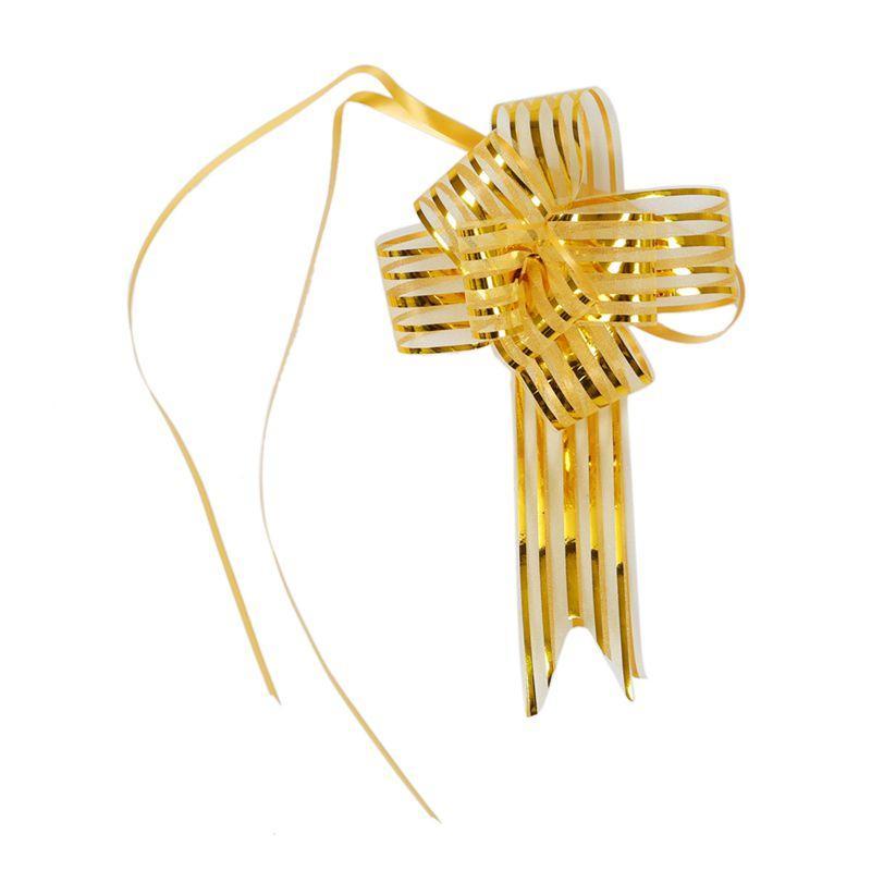 HLZS-подарочная упаковка блестящий тянуть лук ленты золотой тон 10 шт.