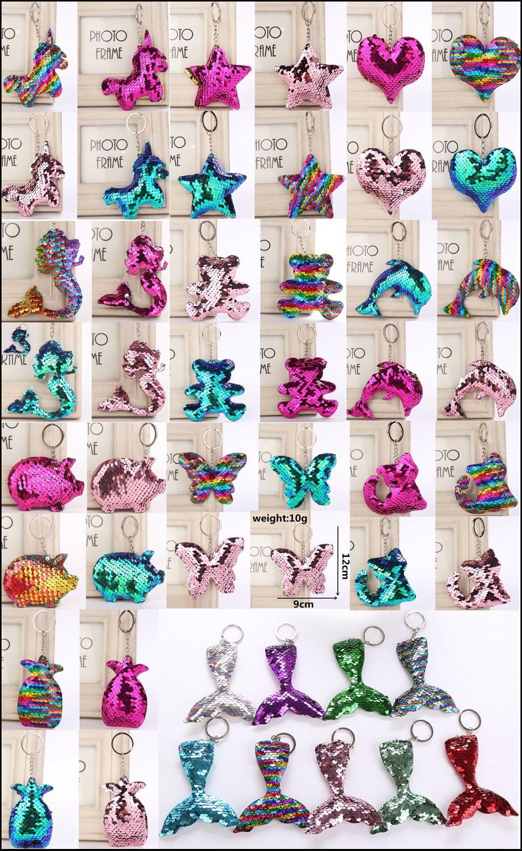 Cute unicorn Keychain Glitter Sequins Key Chain car Bag Key Ring star Keychains mermaid Key Chain stars bear fish tail cat pendant