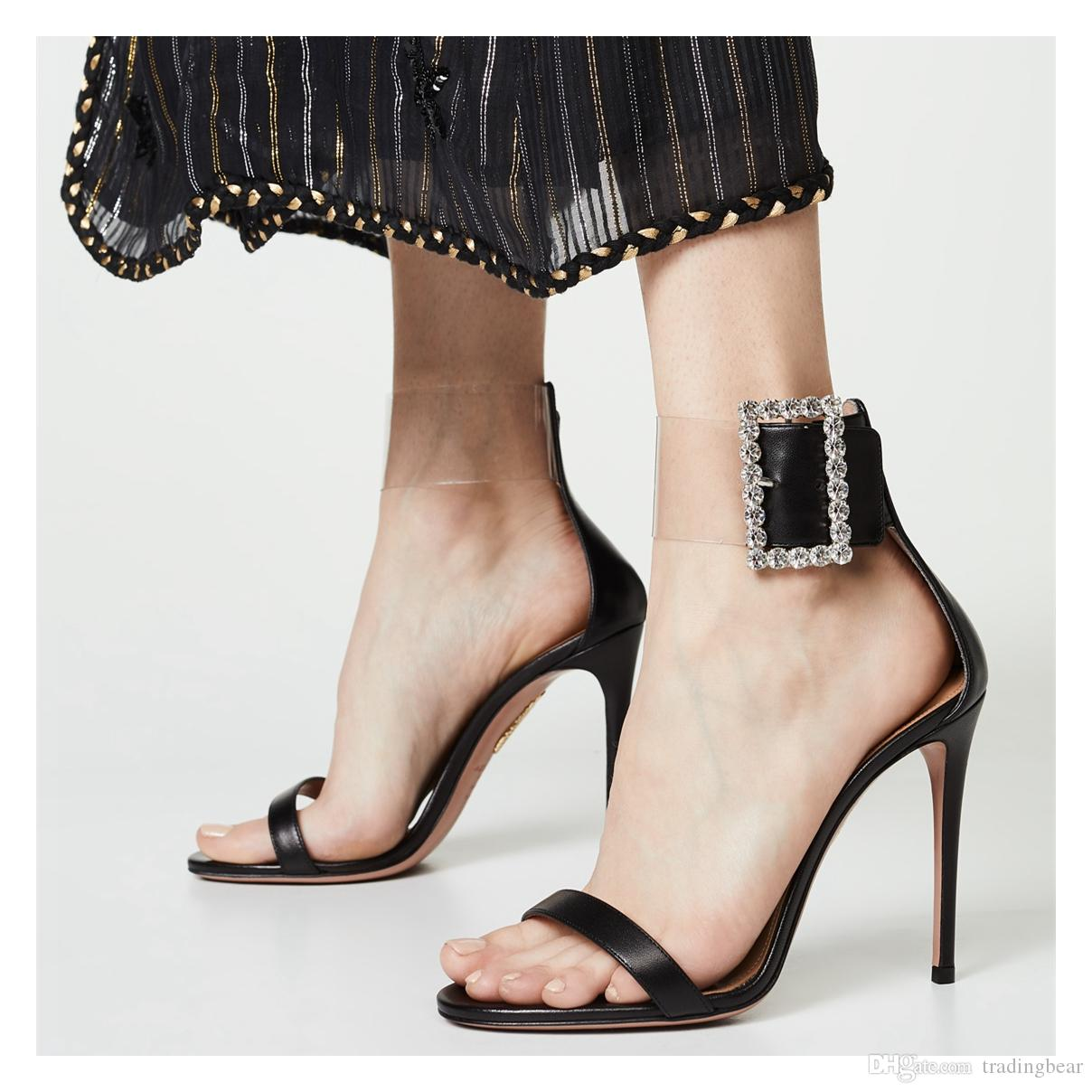 Size 35 To 42 rhinestone buckle ankle strappy high heels sandals sexy dress shoes 12cm fashion luxury designer women shoes tradingbear