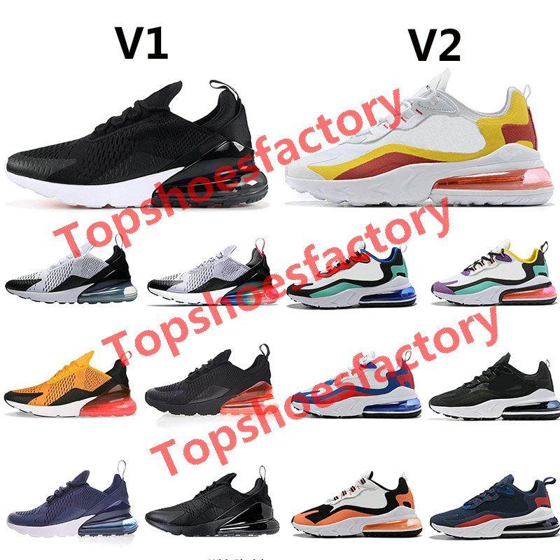 Nike air max 270 react airmax 270 60+ لون سادة حذاء رياضة أحذية مصمم 27C مدرب نجم الطريق للحديد العفريت 3M CNY رجل عامة للنساء رجال 36-45 بدون صندوق