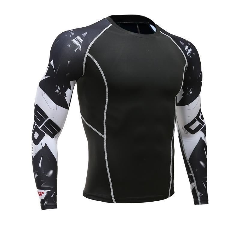 Wolf 3D-gedrucktes T-Shirt Compression Tights Men Fitness-Laufshirt Breath Langarm Sport Rashgard Gym einen.Kreislauf.durchmachenClothing
