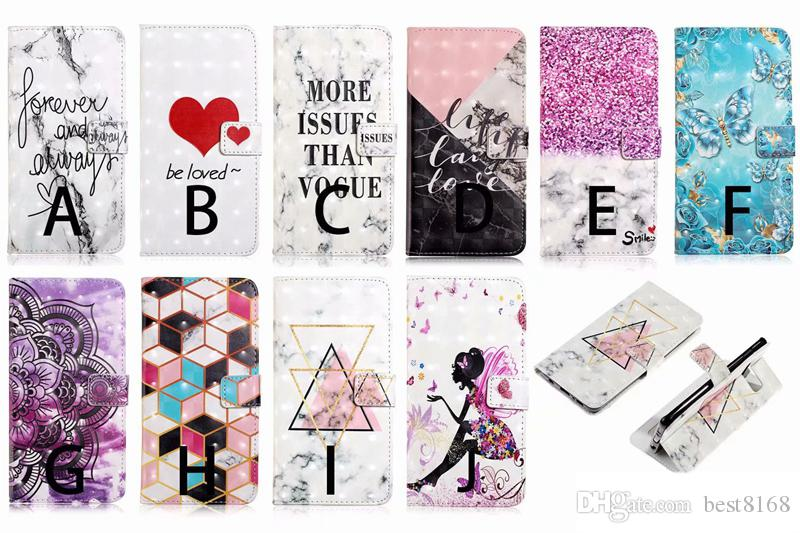 3D Bling Leather Wallet Case For Iphone 11 2019 XR Samsung S10 Lite Plus Huawei P30 Pro Flower Lace Marble Heart Fairy Card Slot Flip Cover