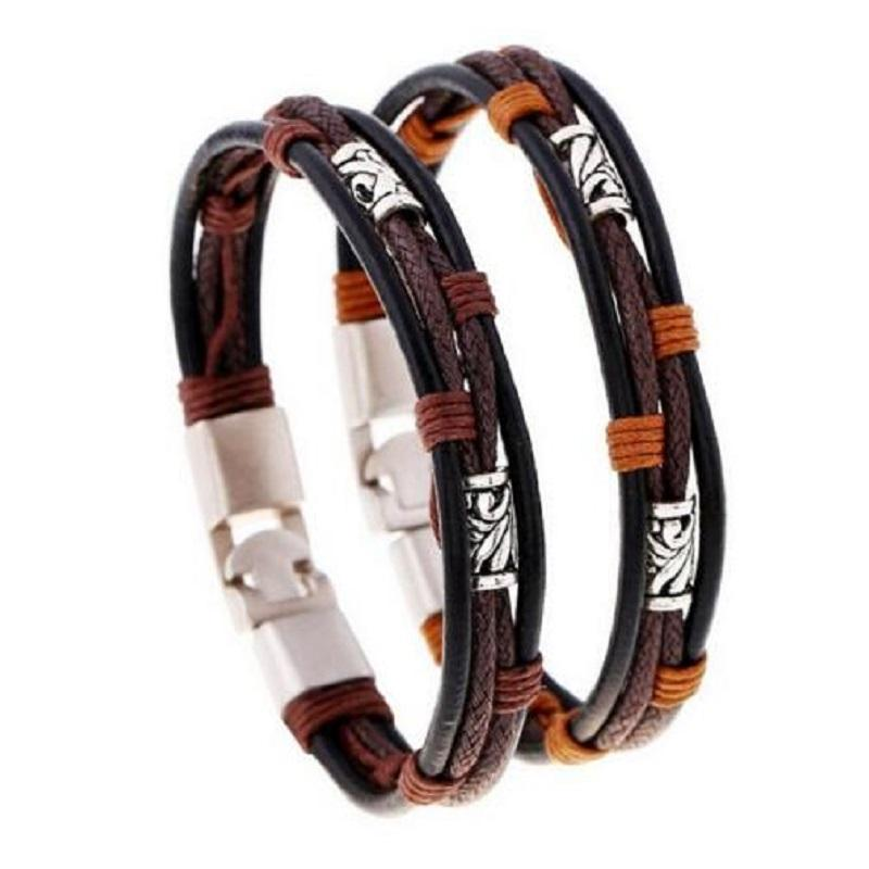 Fashion men bracelets Classical simple style hemp rope leather jewelry for women best friend gift alloy zinc punk waistband