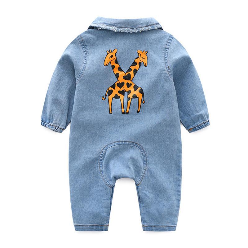 لينة الدنيم رومبير الكرتون الرضع الملابس الوليد بذلة الرضع بوي بنات زي كاوبوي أزياء جينز الأطفال J190526