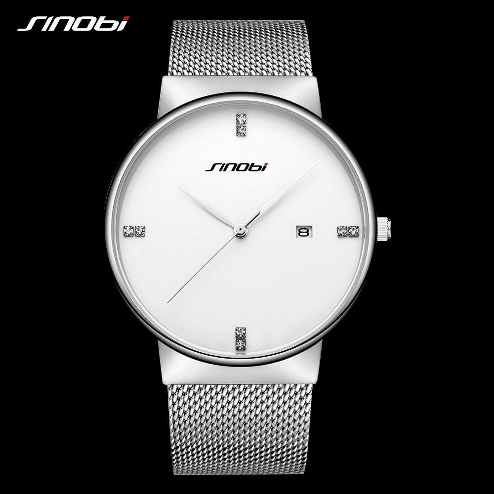 SINOBI Business Men Quartz Watches Luxury Top Brand Fashion Simple Ultra-thin Watch Mesh 316 Stainless Steel Male Wristwatch New