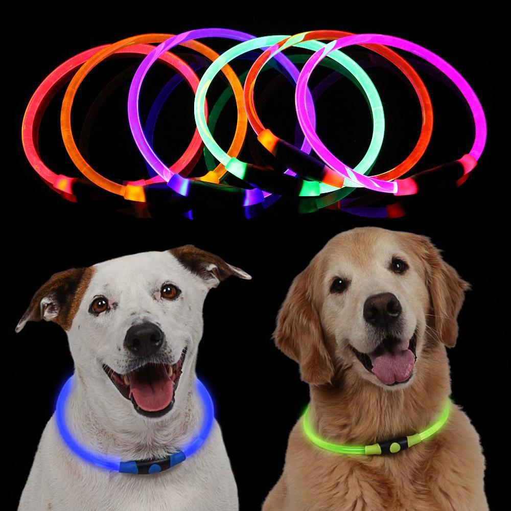 2019 new Adjustable 70mm Pet Dog Collar LED Night Flashing Luminous Dog Collars Optical fiber tube Neck Collar for Dog Collar LED Light