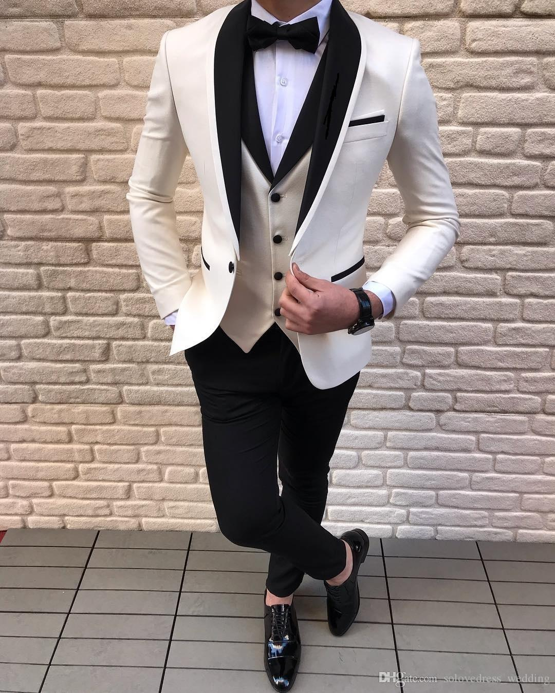 Solovedress Handsome Formal Wedding Men Suits Slim Fit Shawl Lapel Blazer 3 Pieces Best Man Suit Fashion Groomsmen Suits Jacket Pant Vest