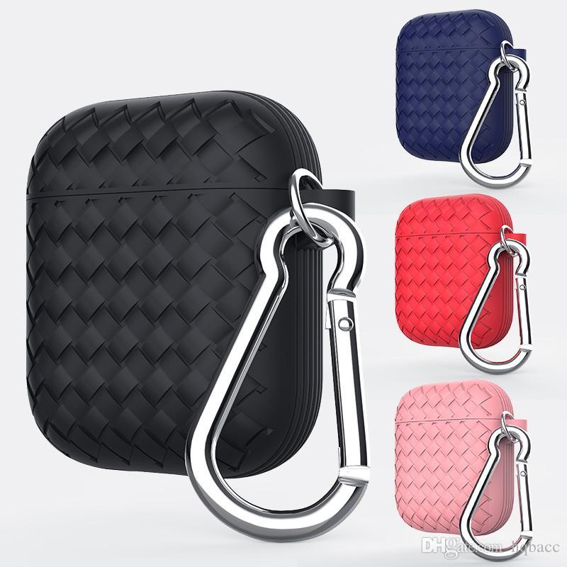 Nouveau Pour Apple Airpods cas de protection en silicone de luxe texture tissée pour iphone xs max x xr bluetooth housse de protection écouteur