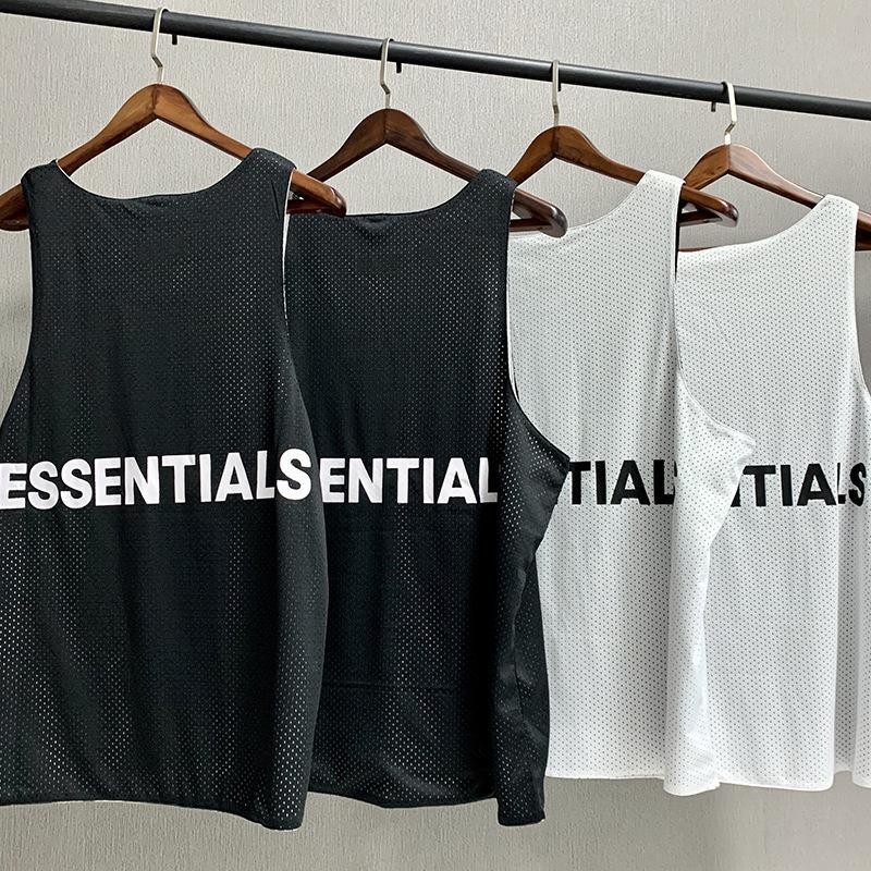 2020 High Street Tide Marca Moda Estilo Homens Designer T-shirt Vest FOG malha Vest Medo de Deus Essentials Sided Wear camisa sem mangas