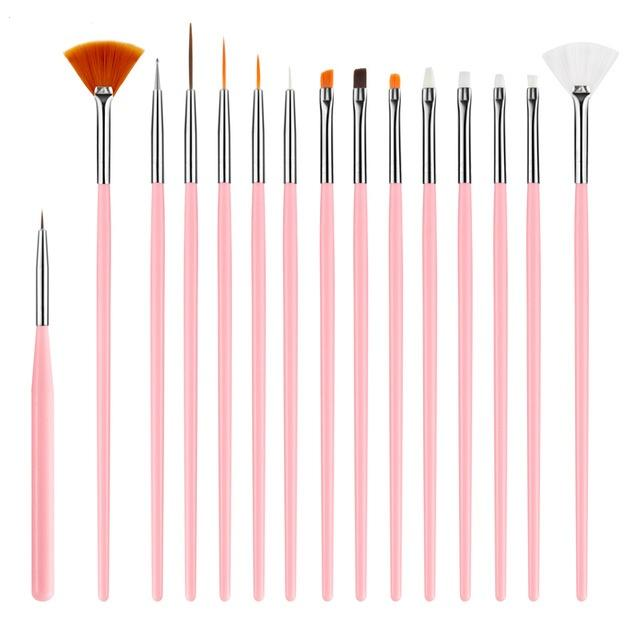 15pcs/Set Painting Nail Art Drawing Design Dotting Liner Pen Brush DIY Design Tips UV Manicure Tool Acrylic Fan Builder Carving