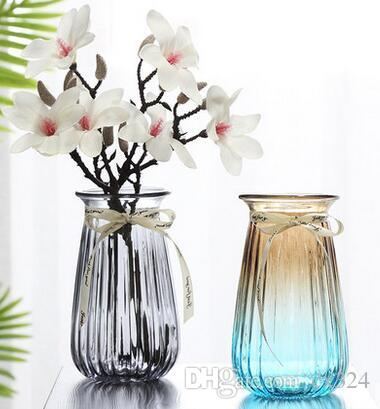 Creative simple transparent colored glass vase hydroponic green plant lily flower vase living room decoration decoration
