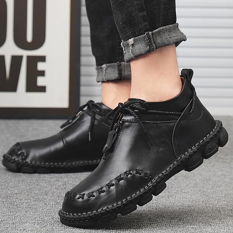 Homens ankle boots de couro genuíno homem Botas de moda costura artesanal Shoes Outono básico de condução Calçados tamanho grande 48 o4