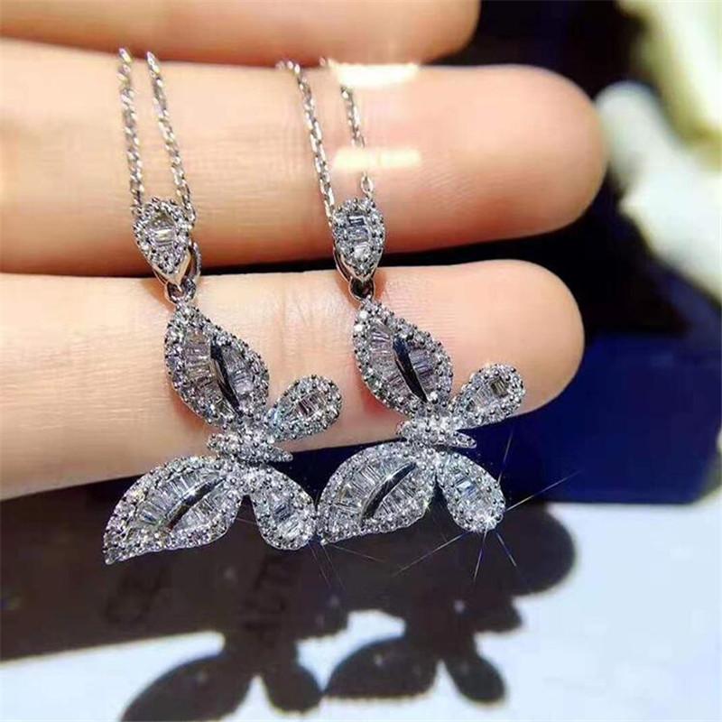 Ins Schmetterling Anhänger Frische einfache Modeschmuck 925 Sterling Silber Prinzessin Schnitt Weiß Topas CZ Diamant Edelsteine Clavicle Halskette Geschenk