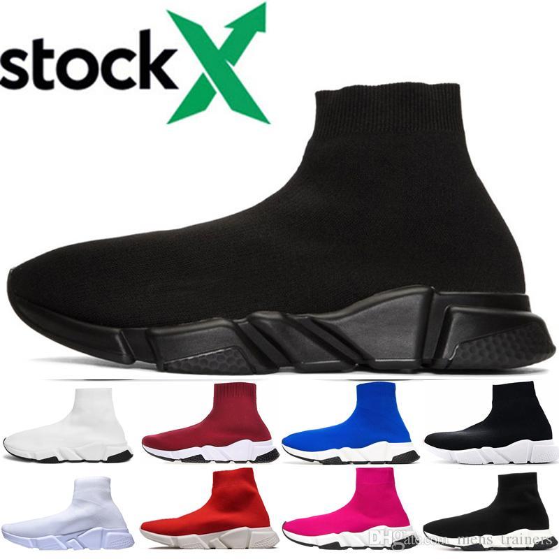 D'origine 2020 femmes hommes chaussette chaussures de marche Triple Noir Blanc Rouge Bleu vitesse formateur Sport Sneakers Top Bottes Casual Chaussures 36-45