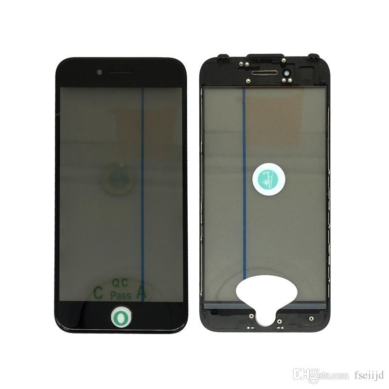 50pcs OEM 4 em 1 Tela frio da imprensa exteriores frontal vidro com quadro iPhone OCA polarizador para 8 7 6 6s mais Tela substituição de vidro