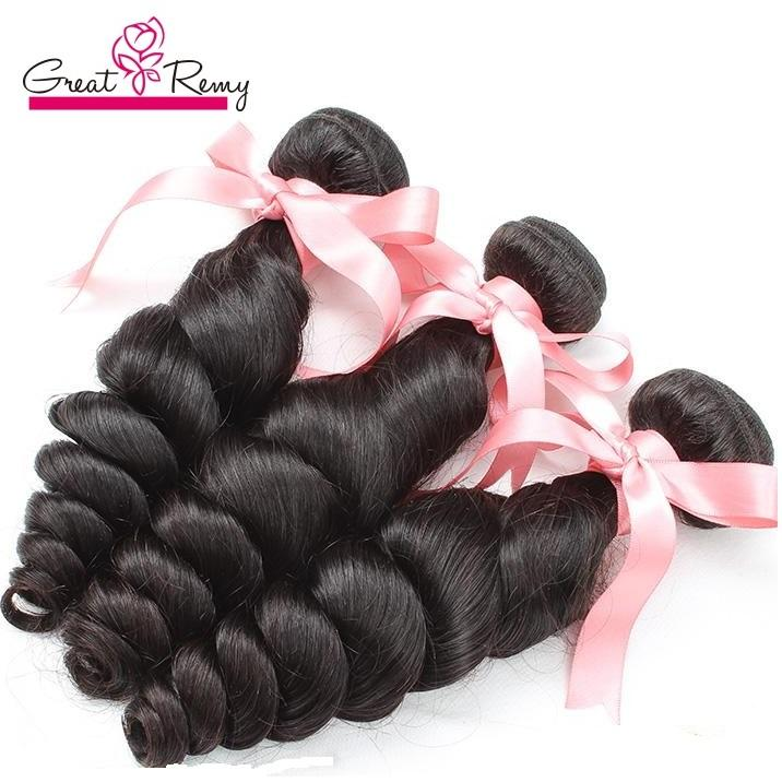 Greatremy 100% Peruvian Hair Extension 3pcs/lot Remy Human Hair Extensions Wavy Loose Wave Drop Shipping Natural Color
