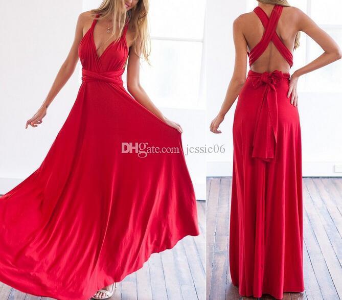 31 colori Donna Wrap Convertible Boho Club Dress Bandage Long Dress Party Bridesmaids Multi-wear multi-corda cross backless vestito sexy regalo