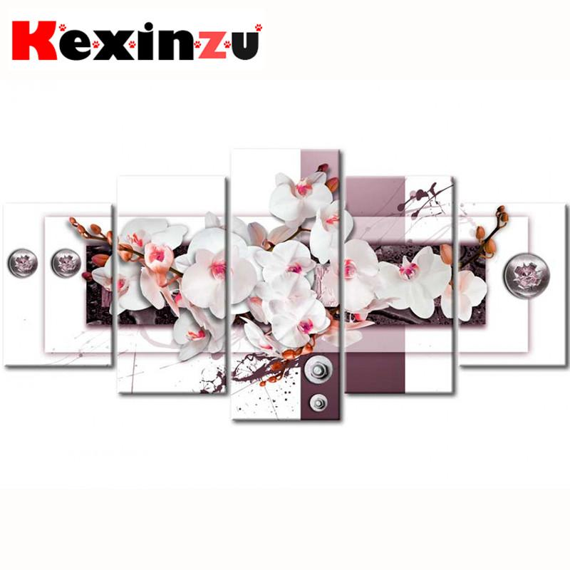 Full Drill 5D Square Diamond Painting Embroidery 5pcs Combination Cross Stitch