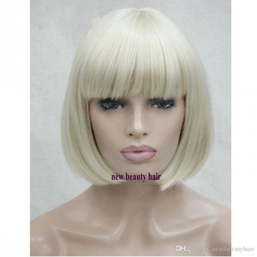 Mode Blonde Farbe Short Bob Perücke mit Baby-Haar Hitzebeständige Glueless synthetische Spitze Frontseiten-Perücken mit Knallen für American Black Women