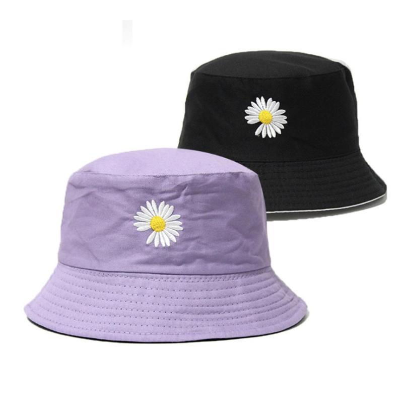 الوجهين الصيف ديزي دلو قبعة النساء الرجال القطن بوي بنما كاب بنات بوب الشمس Femel الزهور قبعة صياد