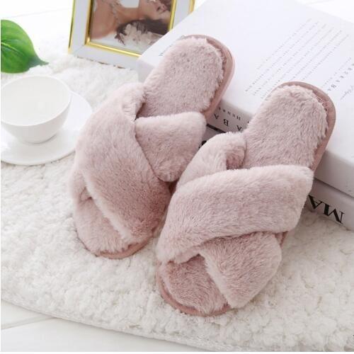 Hiver femme Pantoufles avec fausse fourrure mode chaud Chaussures Femme Slip Flats Femme Diapositives Noir Rose Taille Plus 41