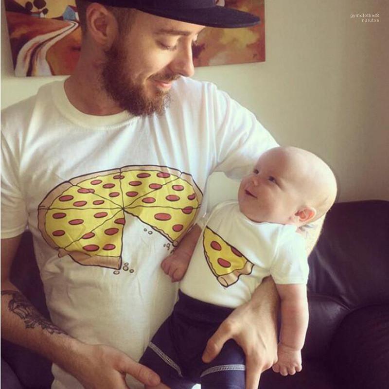 T-shirts ras du cou à manches courtes blanc Homme T-shirts Vêtements de mode Casual Parent Enfant Vêtements Pizza Mignon Imprimer