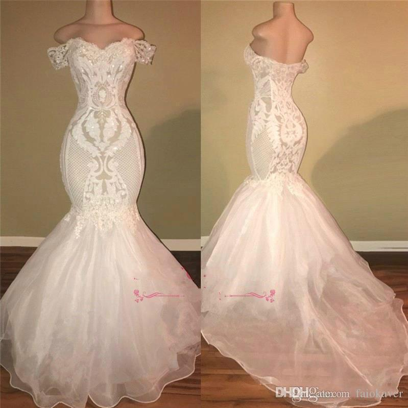 2019 Real Images White Mermaid Prom Dresses Long Off Shoulder Sequins Beach Cheap Evening Gowns Backless Plus Size Custom Made Party Dress