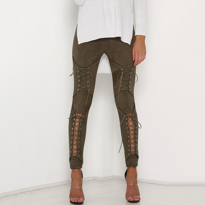 2018 New Suede couro Calças Lápis Lace Up Cut Out Moda Calças da mulher Sexy Bandage Legging Calças calças de Lace-up Mulheres Y200114