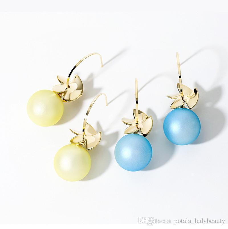 الحلوى اللون حلق جميل للبنات S925 مسمار حلقات الأذن الزرقاء الباردة زي الرياح العصرية نمط قلادة الأزياء والمجوهرات عيد الميلاد حزب بنات هدايا