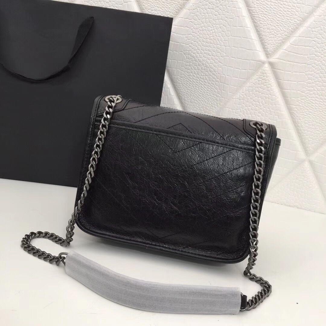 Original-Handtaschen Crinkled Jahrgang Schulterriemen aus Leder Art und Weise Frauen Tasche Kette Umhängetasche Bag Messenger Bag