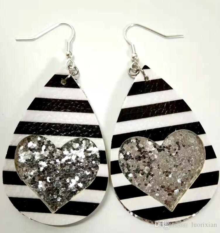 Bohemian Jewelry Teardrop Earring Sparkly Earring White Glitter Earring White Earring Pink and White Sparkly Faux Leather Earring