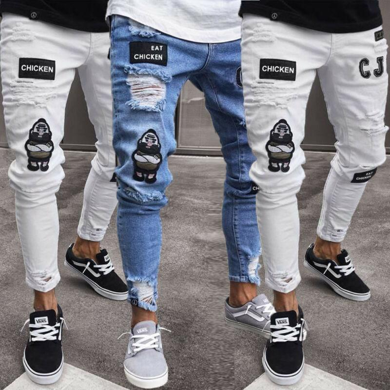 2020 Fashion Men's Ripped Skinny Jeans Destroyed Frayed Slim Fit Denim Pants Zipper S M L XL 2XL