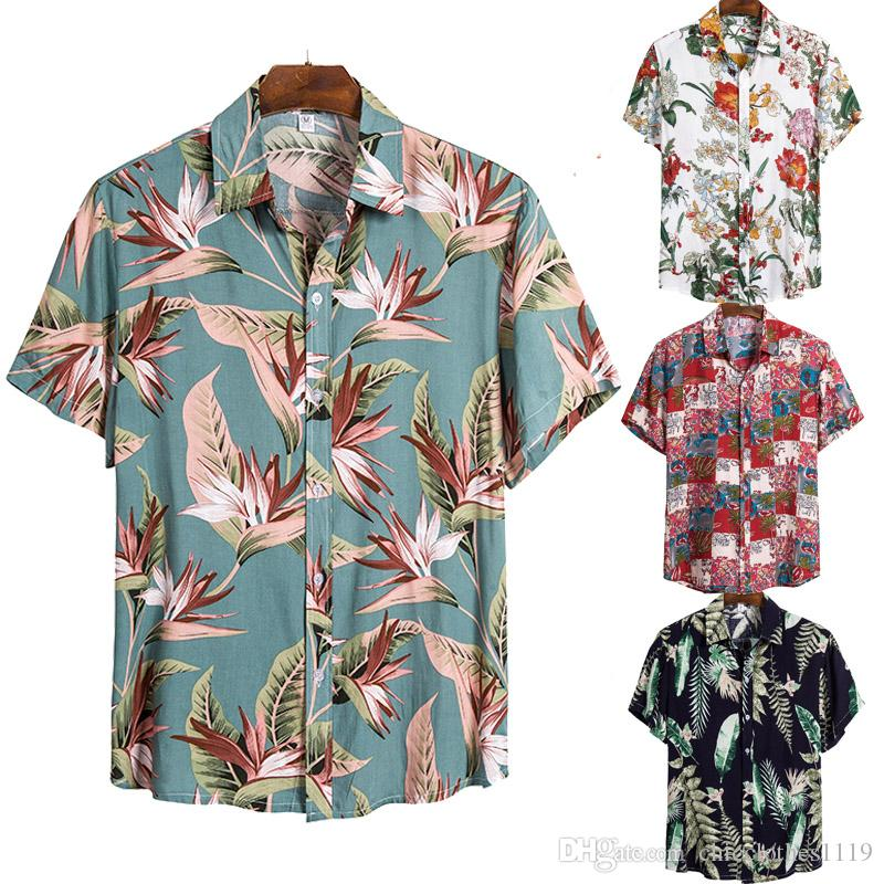 Hawaiian Shirts Mens Short Sleeve Silk Floss Print Shirt Vacation Plus Size Casual Stand Collar Button Loose Beach Shirt Loose Comfort Tops