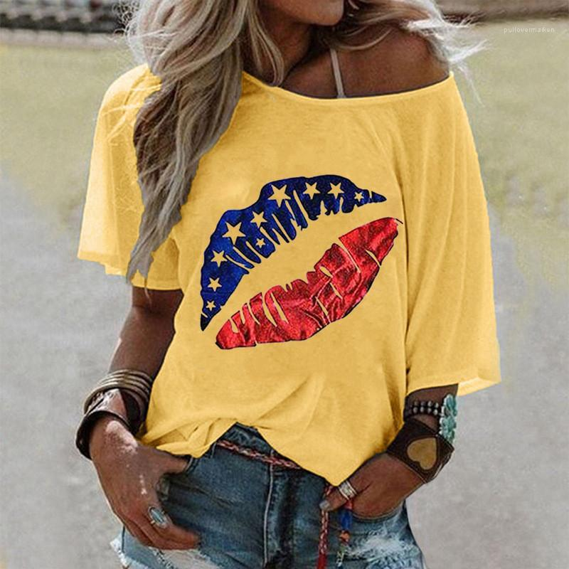 Encolure dégagée Bouche Imprimé Femmes Solide Couleur Casual Hauts Femmes Vêtements pour femmes à manches courtes T-shirt Designer