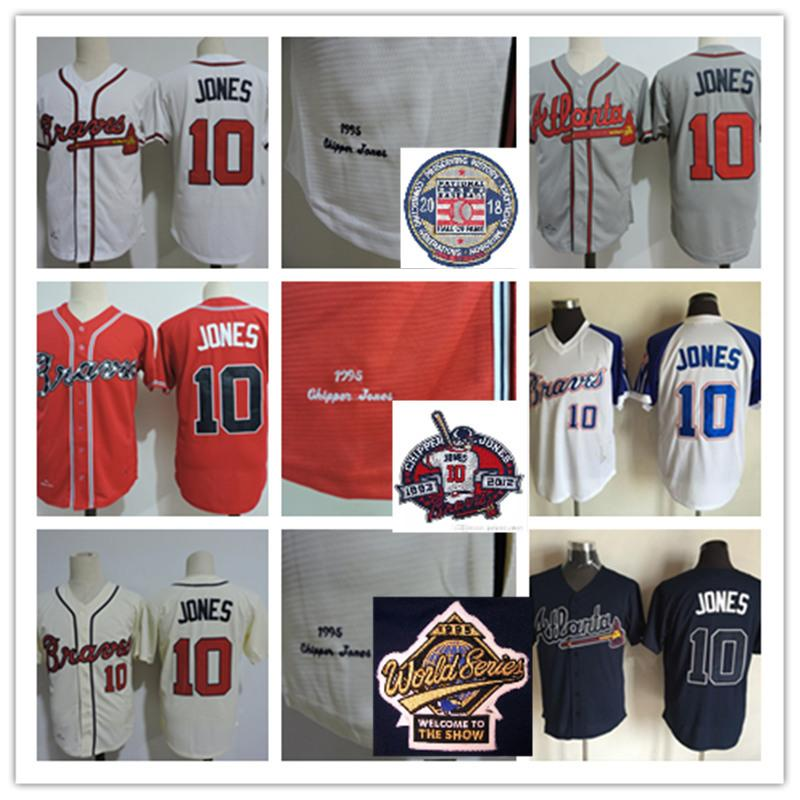 patch Mens Stitched Chipper Jones HOF Jerseys White Red Cream Gray #10 Chipper Jones 1995 WS Retirement patch baseball Jersey S-3XL