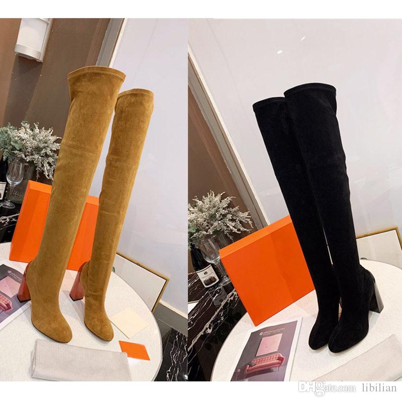New 2019 Leather boot Luxury Designer winter boots Knee Boots genuine 100% real leather female High heel boots with shoe box women shoes