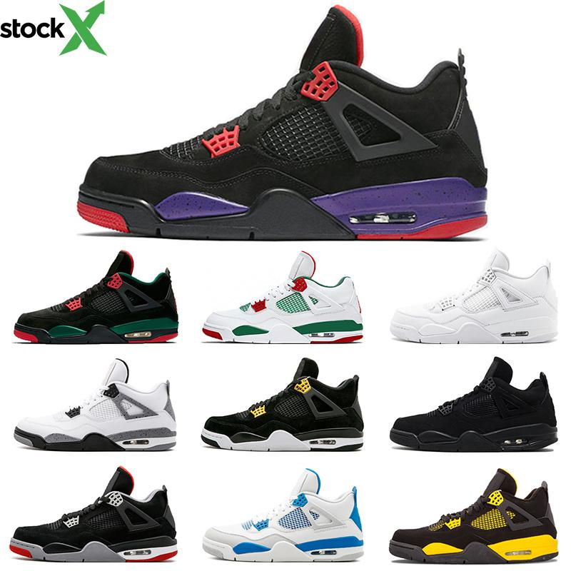 Siyah beyaz Pizzeria 4 4 s erkekler basketbol ayakkabıları Raptors Royalty saf para Yangın Kırmızı Bred Mavi erkek Sprots Ayakkabı Sneakers boyutu 40-47 Toptan