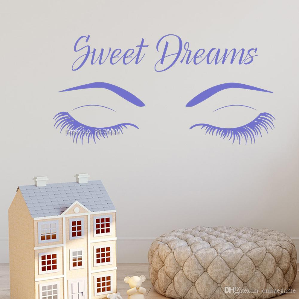Sweet Dreams Quotes Eyelashes Wall Decals Modern Vinyl Wall Art Decor For Nursery Room Bedroom Decal Eyebrow Wall Quote Wall Decal Quotes Wall Decal