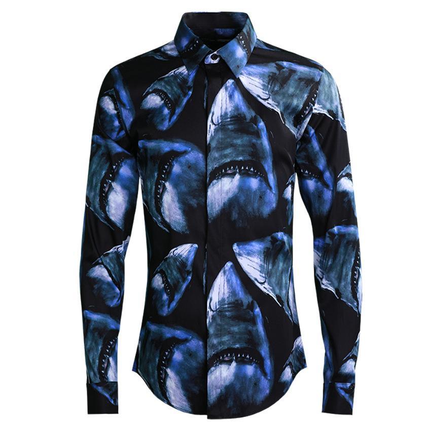 2019 primavera homens camisa casual de alta qualidade tubarão impresso moda camisa plus size masculino 4xl mistura de algodão azul homens camisa de vestido