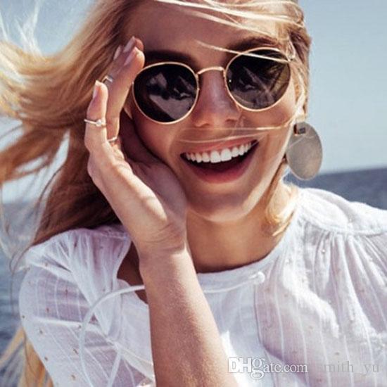Moda Rodada de metal dos óculos de sol das mulheres dos homens Marca Designer Vintage Vidro Espelho UV400 Driving 3447 gafas oculos de sol óculos de sol com caso