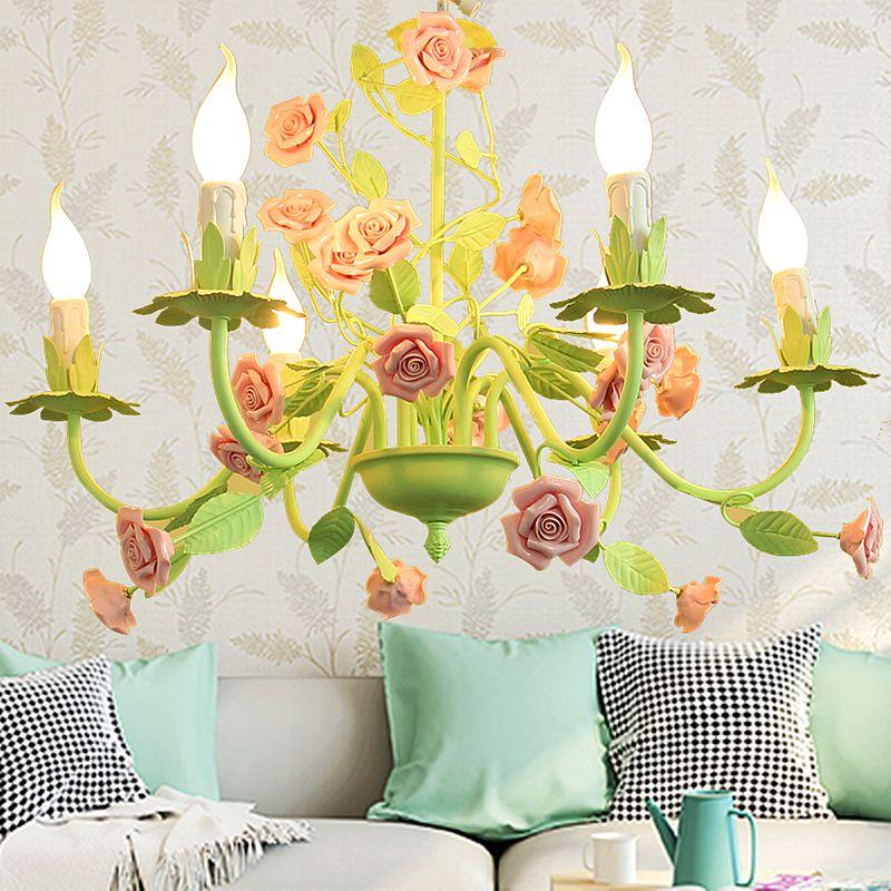 Lámpara colgante decorativo de lujo Rosa Verde moderna del estilo de Rose lámpara de luz cubierta de hierro araña de cristal de iluminación de la sala comedor