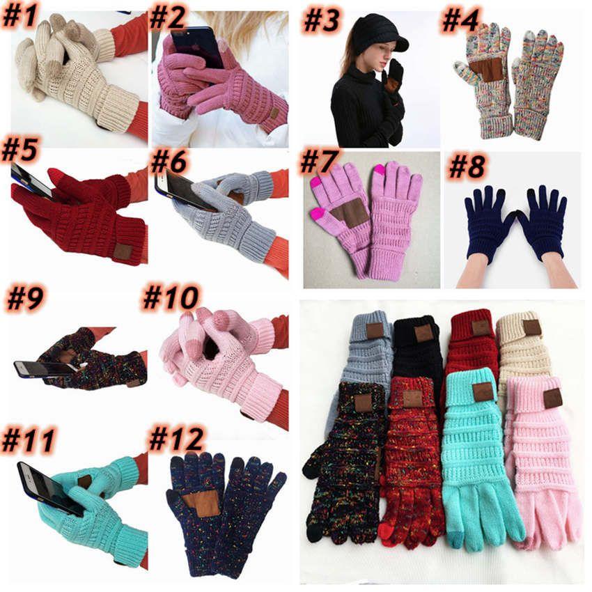 Tricô luvas do toque tela capacitiva Luva Mulheres de Inverno de lã quente Crochet Gloves 20pcs antiderrapante malha Teleginger ZZA1481