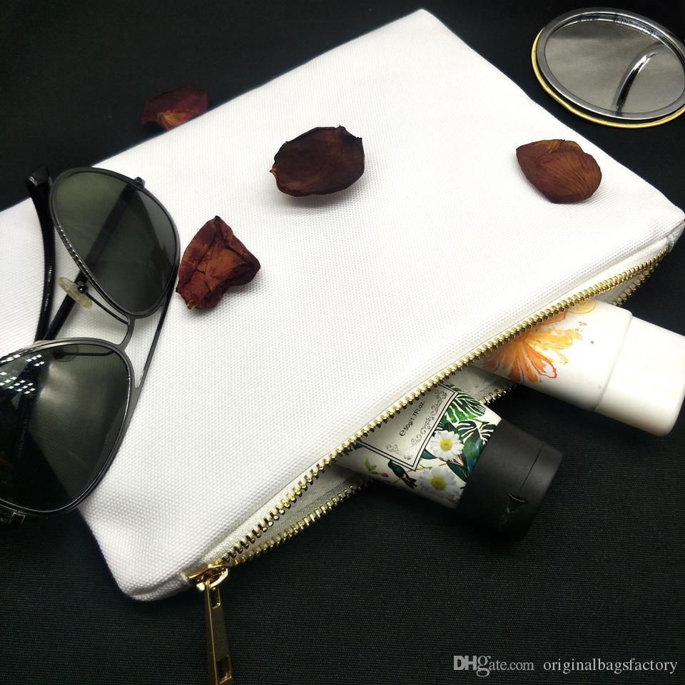 bianco borsa di tela trucco 7x10in vuoto 12 once poli per 12ozthick stampa a sublimazione tela trousse con cerniera metallica per la stampa trasferimento di calore