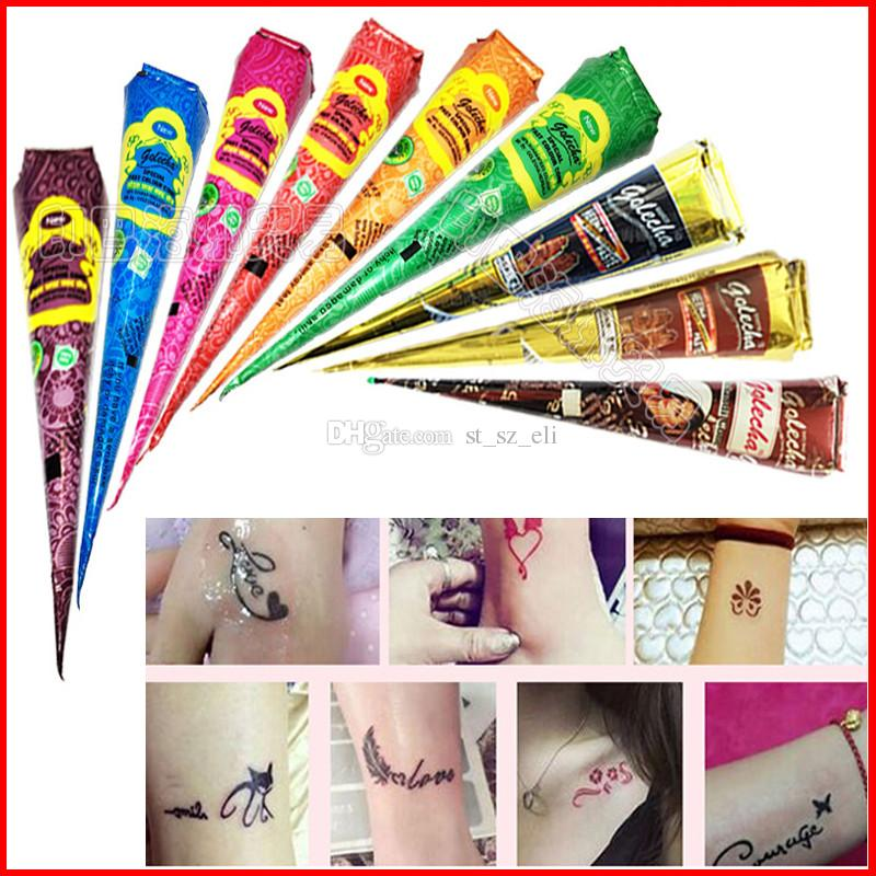 Henna Temporary Tattoos Red Brown Color Natural Indian Body Art Tattoos Paste Body Drawing Colorful Body Paint Henna Tattoos Supplies 25g*9