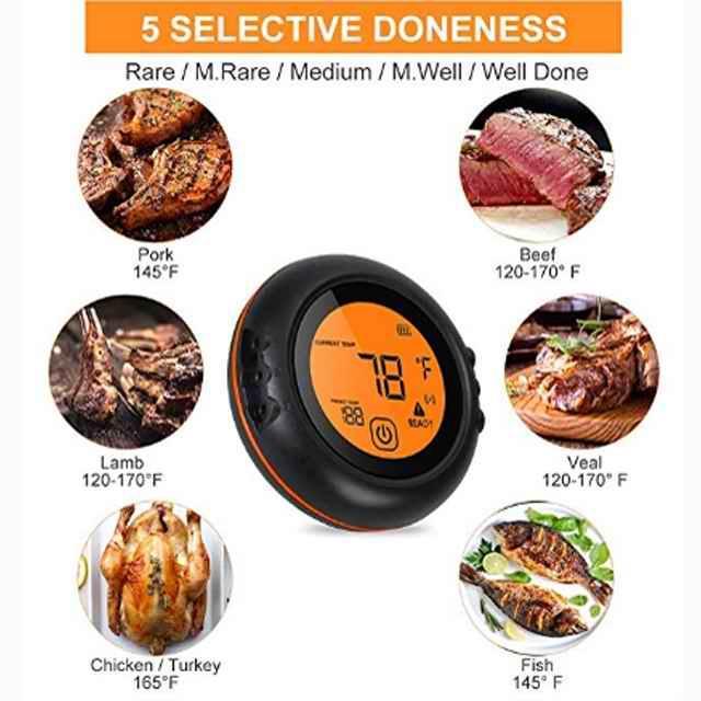 Smart APP drahtlose Kochen Lebensmittel Fleisch Thermometer Küche Ofen Lebensmittel Grill Rauch-Sonde Grilltemperatur Alarm-Timer