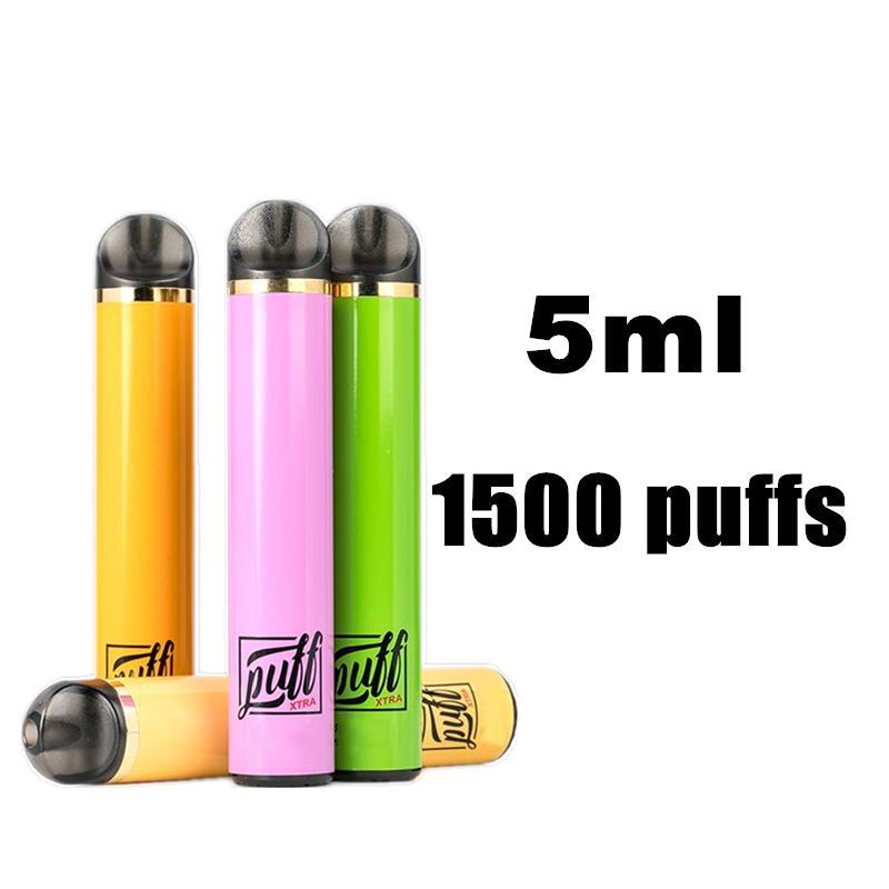 퍼프 Xtra 전자 담배 일회용 vape 포드 시스템 스타터 키트 장치 5ml 카트리지 1500 개 퍼프