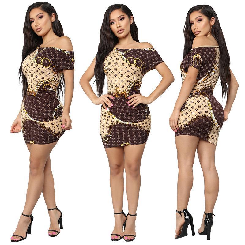 estate modo del vestito delle donne nuovi europei e abbigliamento casual americano gonna corta catena d'oro di grandi dimensioni stampate formato S-XL