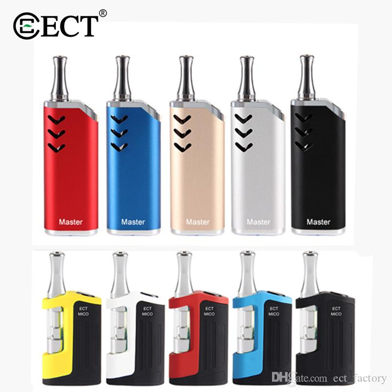 Original E Cigarette ECT Mico/Master vape mod for Thick oil cartridge Kit 650mah preheat Battery Ceramic coil Atomizer Box Mod Vaporizer