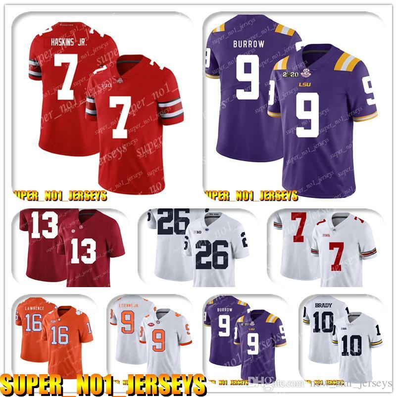 5-24 NCAA 7 Dwayne Haskins JR 9 Joe Burrow Clemson Tigers College Futbol Forması Matt Ryan Julio Jones Todd Gurley Ridley Deion Sanders